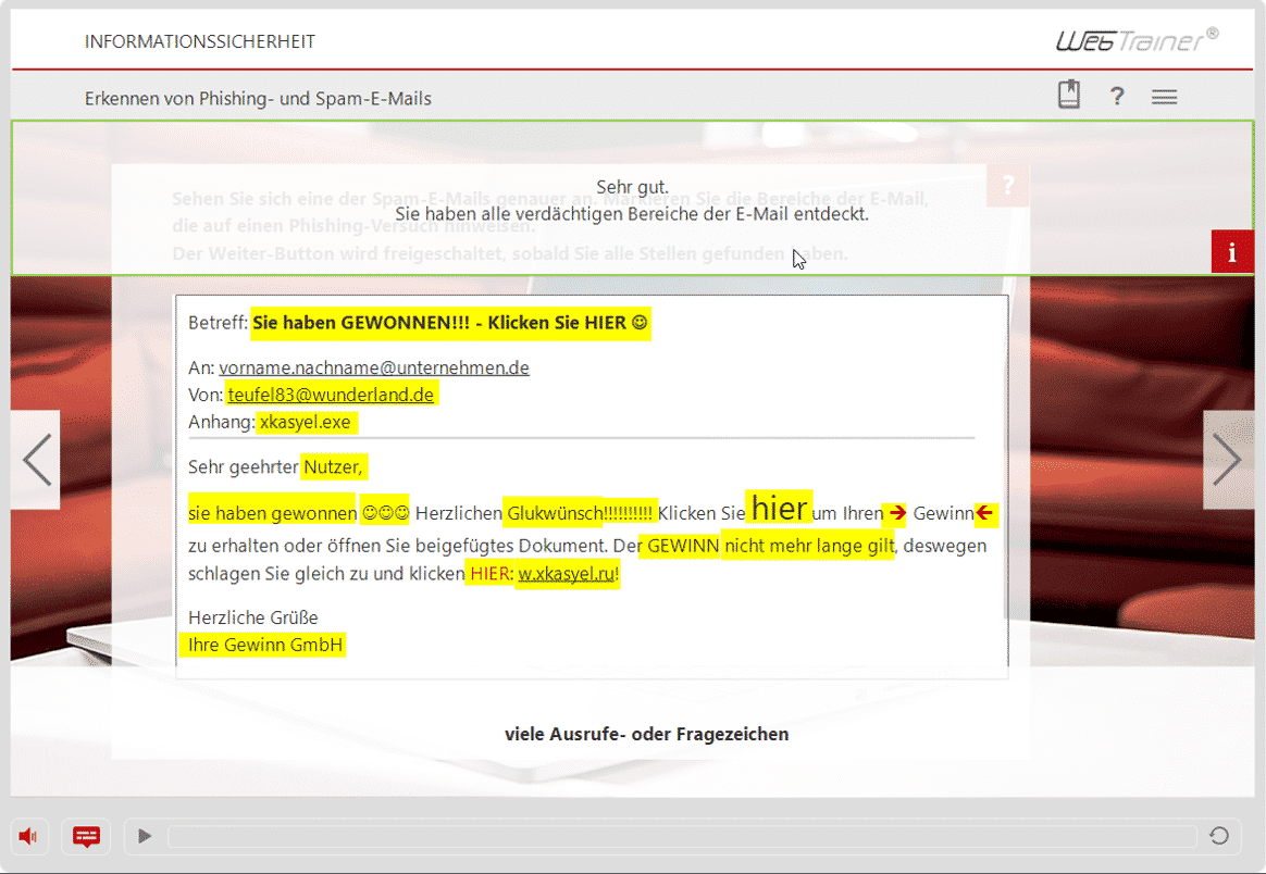 Screenshot E-Learning-Kurs Informationssicherheit