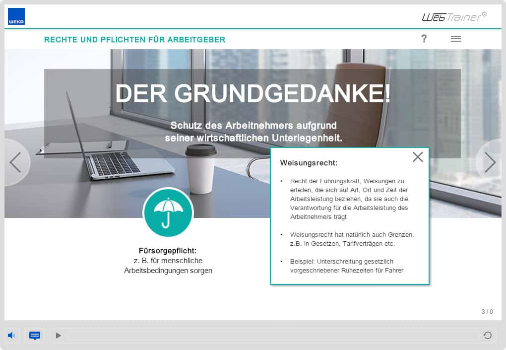 Screenshot E-Learning-Kurs Compliance Fürsorgepflicht
