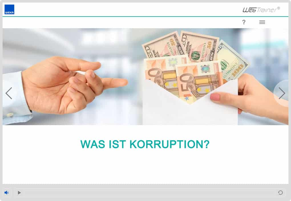 Screenshot E-Learning-Kurs Compliance Korruption