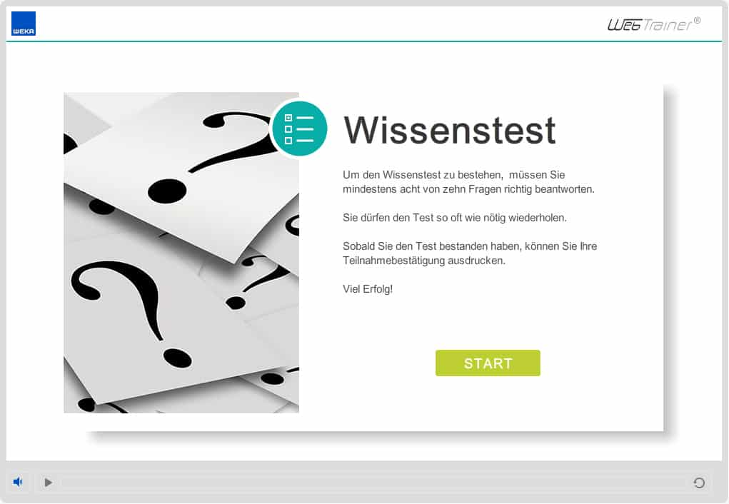 Screenshot E-Learning-Kurs Compliance Wissenstest