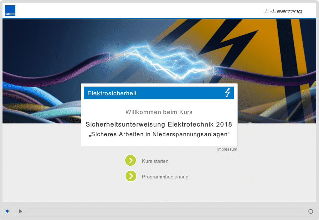 Screenshot E-Learning-Kurs Elektrosicherheit Startseite