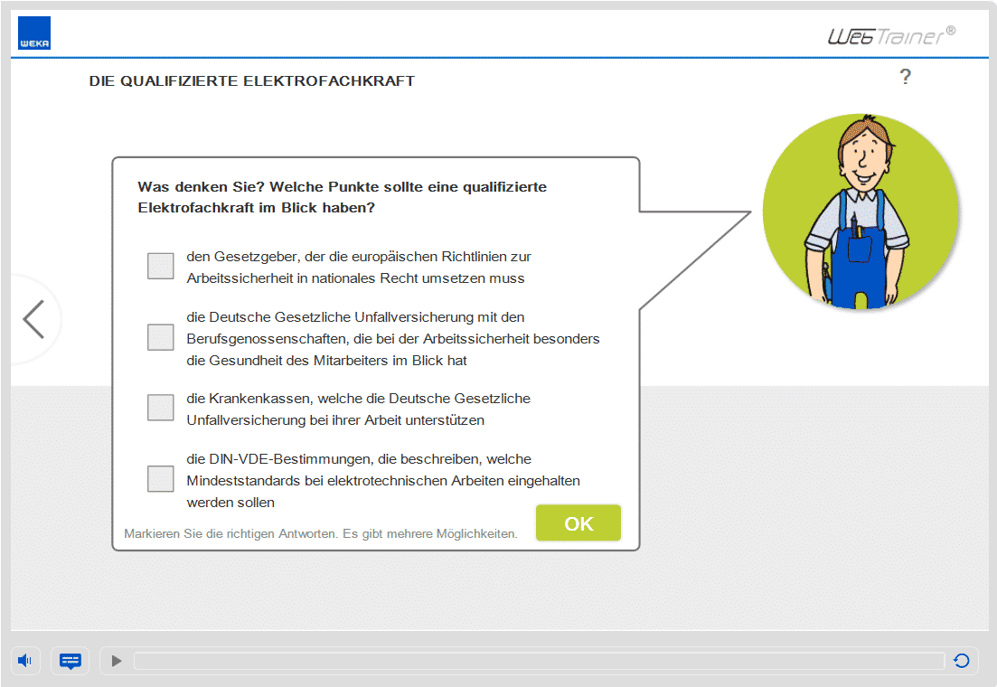 Screenshot E-Learning-Kurs Elektrosicherheit Fachkraft