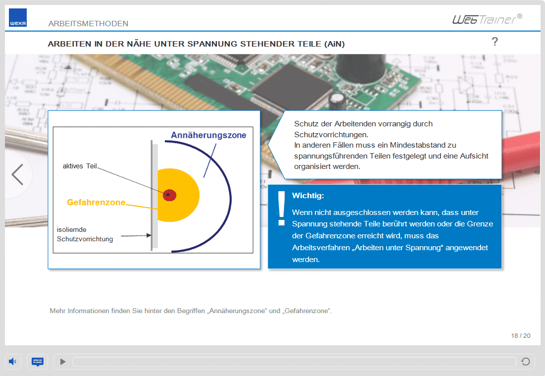 Screenshot E-Learning-Kurs Elektrosicherheit Arbeitsmethoden