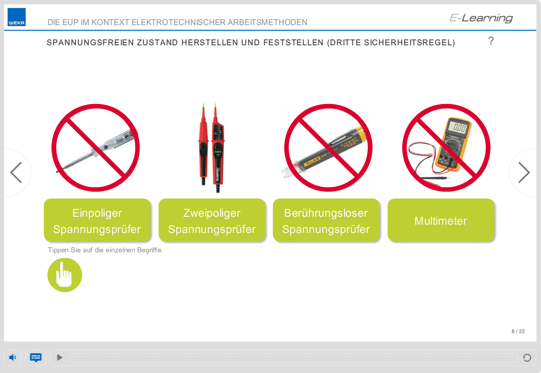 Screenshot E-Learning-Kurs Elektrosicherheit Spannungsmesser
