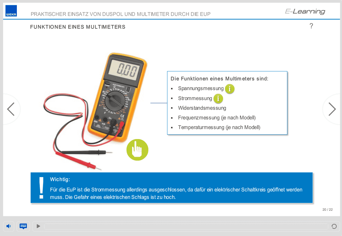Screenshot E-Learning-Kurs Elektrosicherheit Multimeter