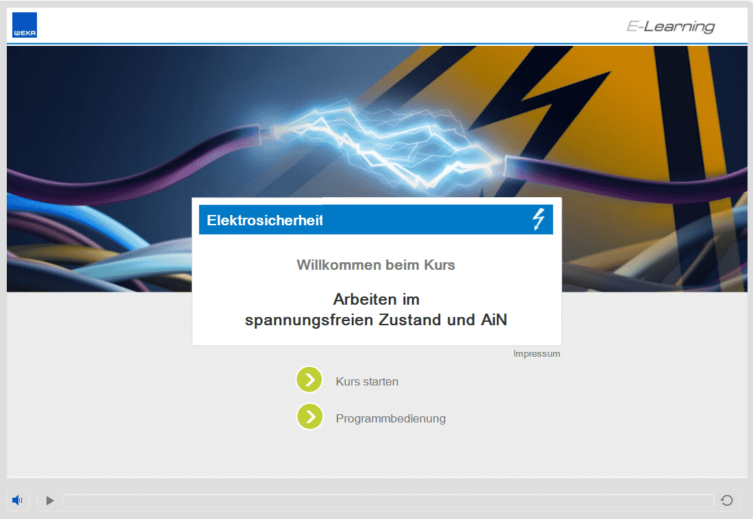 Screenshot E-Learning-Kurs Elektrosicherheit AiN