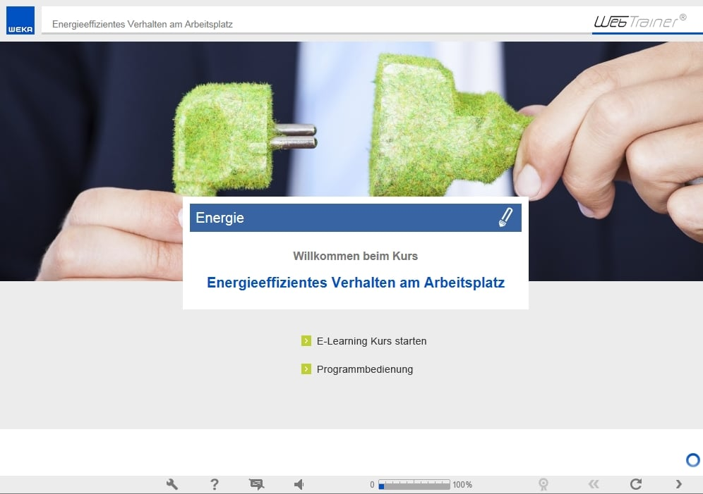 Screenshot E-Learning-Kurs Energie Willkommensseite