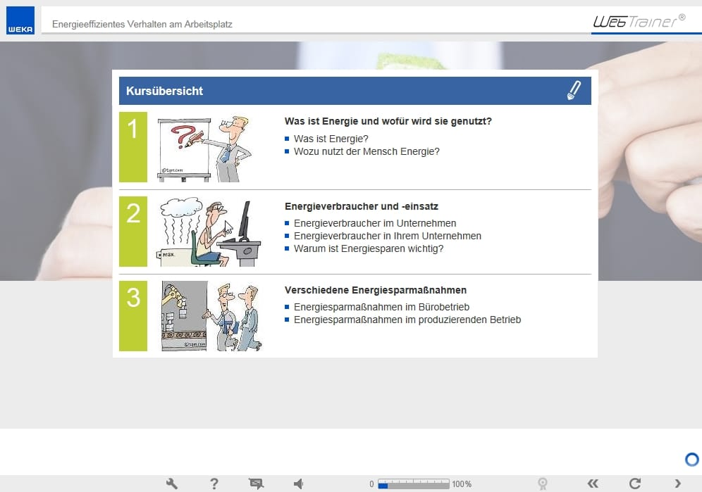 Screenshot E-Learning-Kurs Energie Kursübersicht