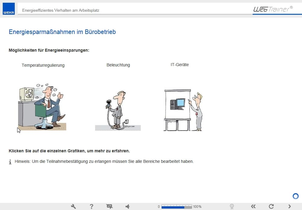 Screenshot E-Learning-Kurs Energie Sparmaßnahmen