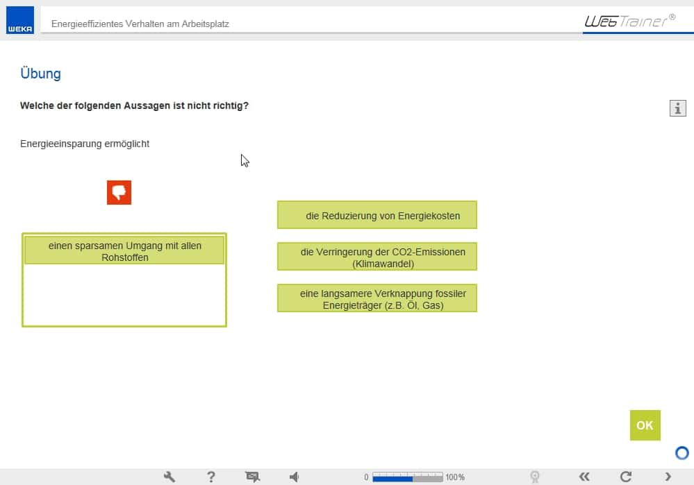 Screenshot E-Learning-Kurs Energie Übung
