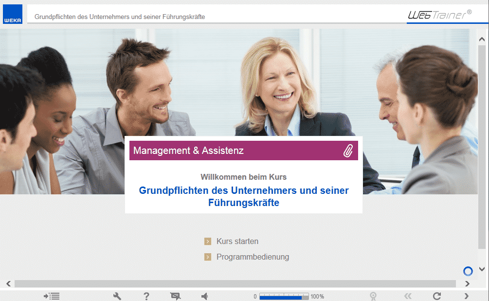 Screenshot E-Learning-Kurs Management & Assistenz Startseite