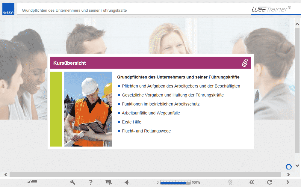 Screenshot E-Learning-Kurs Management & Assistenz Kursübersicht