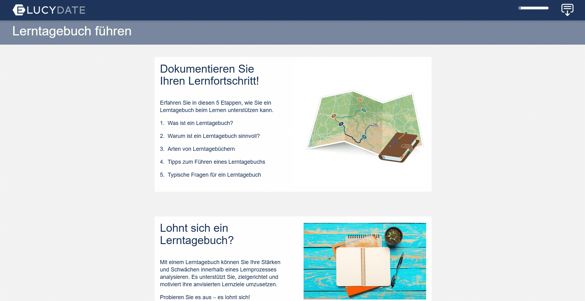 Screenshot E-Learning Elucydate Lerntagebuch