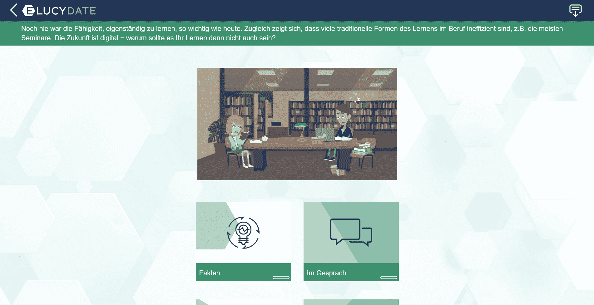 Screenshot E-Learning Elucydate Digitalisierung Kursaufbau